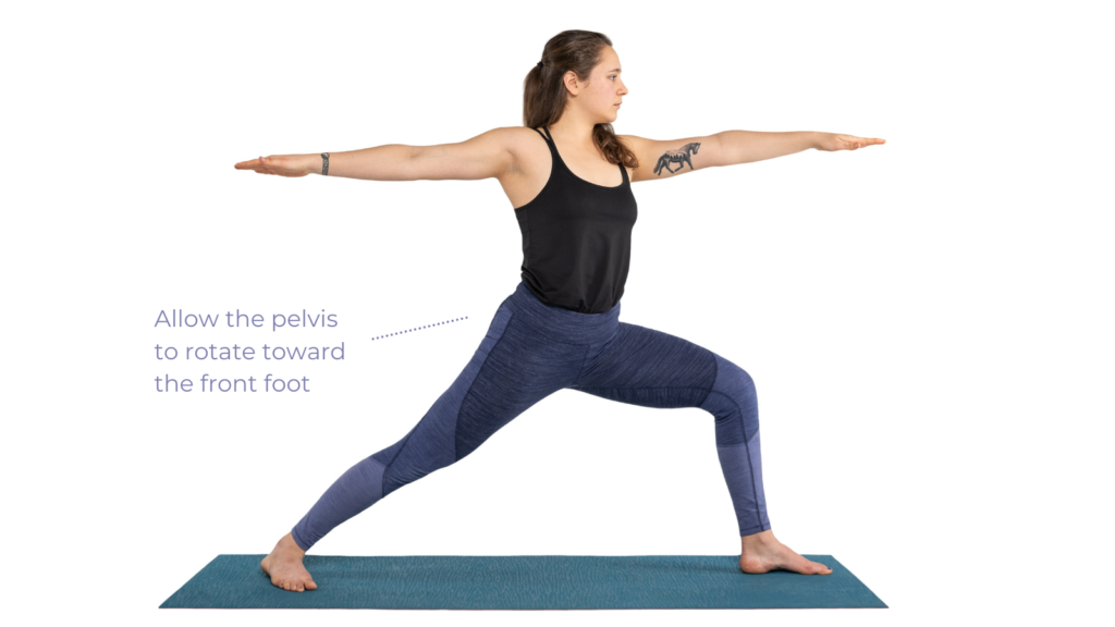 Mindful tips for your hips in standing poses, pelvis rotating forward