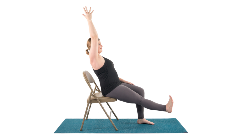 A Boat Pose (Navasana)Variation with chair support for this variation