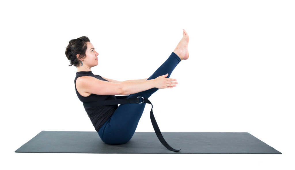 Boat Pose (Navasana) with the support if a yoga strap, Boat Pose Variation