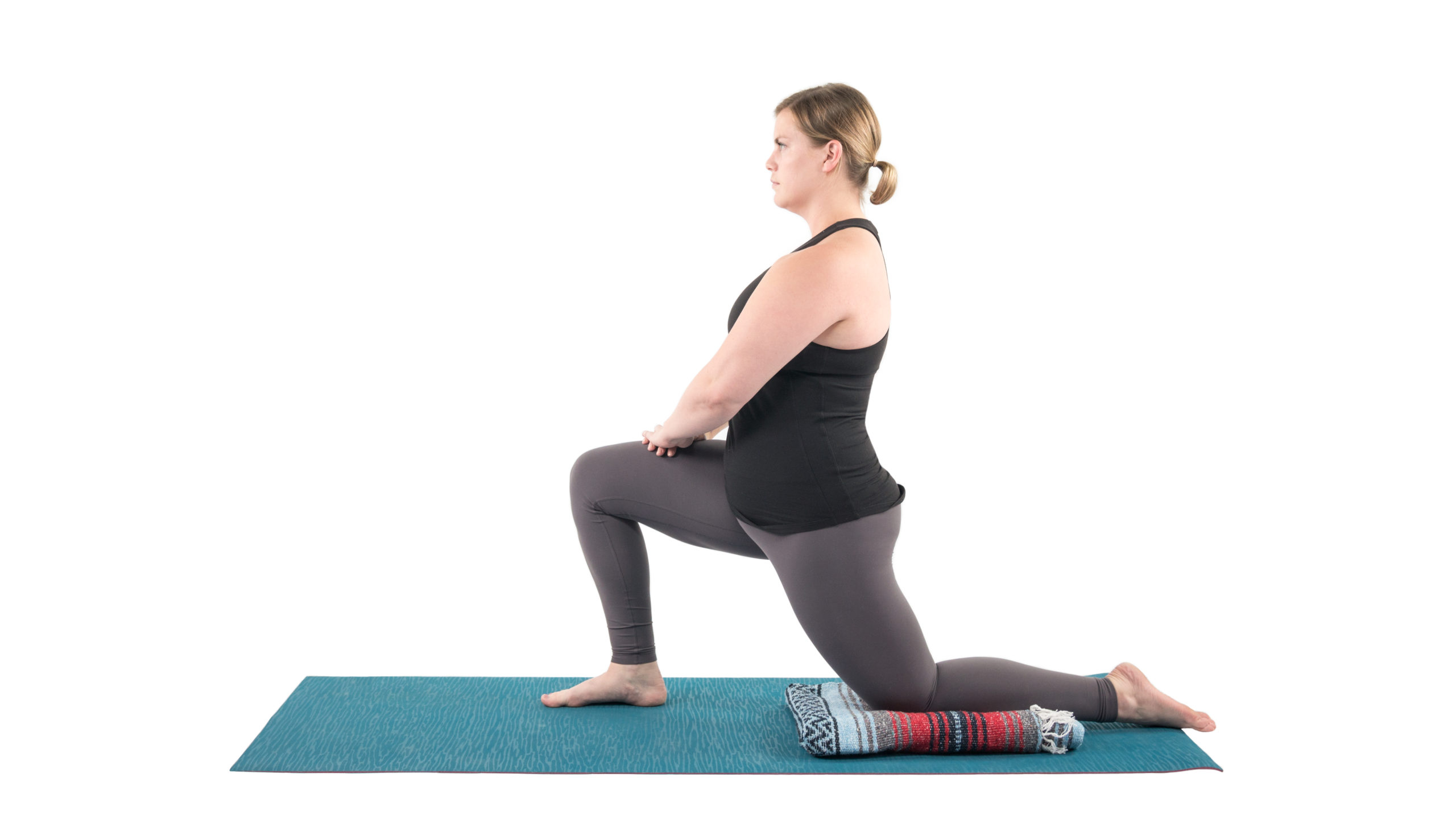 Low Lunge or Anjaneyasana part of Surya Namaskar, yoga with props, sequence flow with change