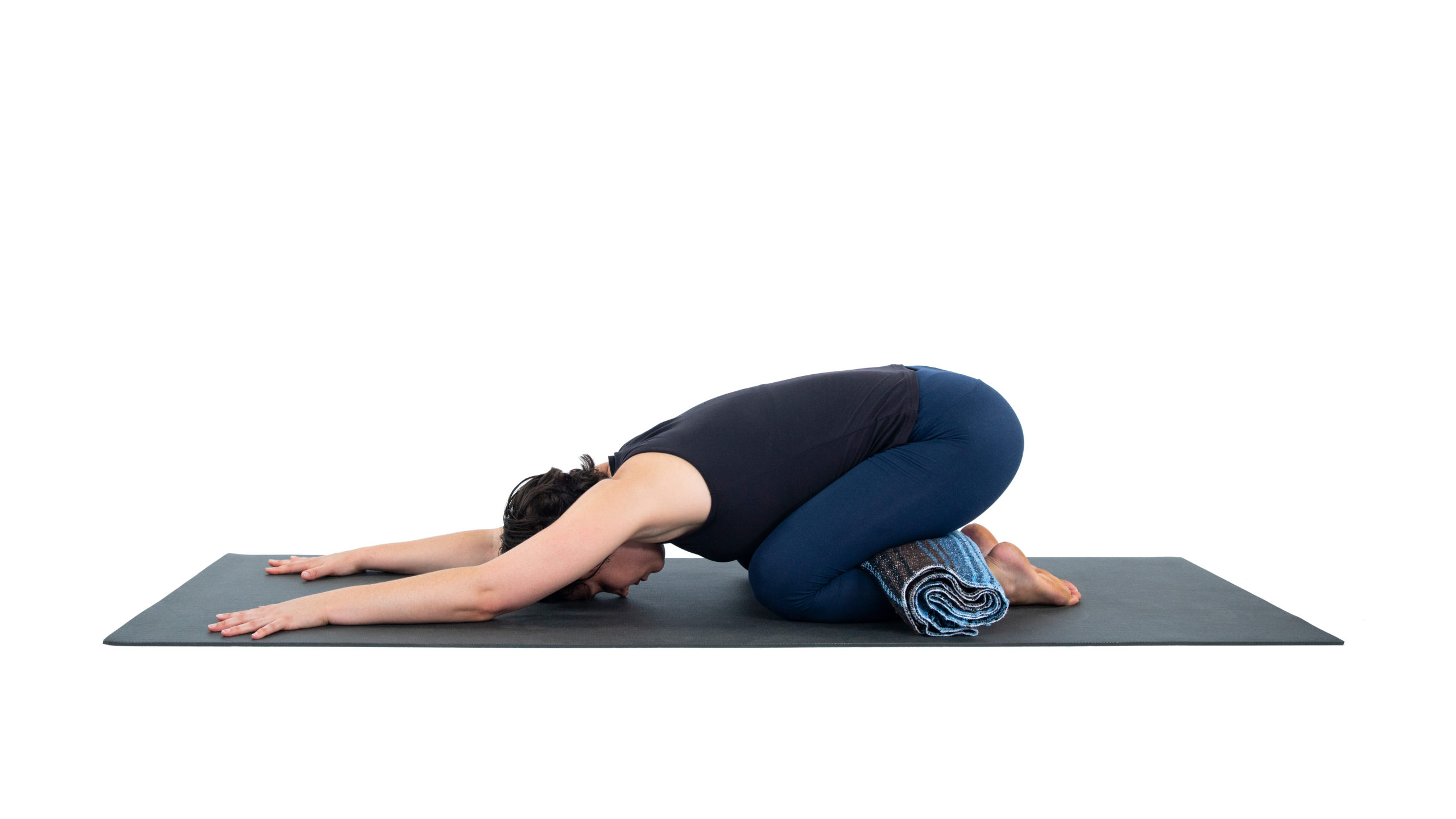 Child's Pose or Balasana, Child's Pose with shoudler stretch, asana variations, child's pose with props in a sequence flowing with change