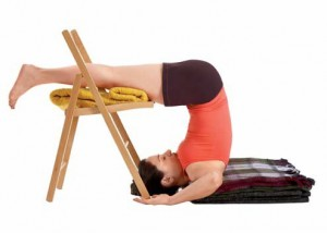 Supported Halasana, supported shoulder stand, Yoga with props,
